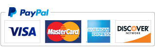 VISA, MasterCard, Discover, American Express, Debit Cards and PayPal
