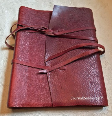 Italian leather photo album with two leather ties