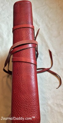 Italian leather photo album spine with two leather ties