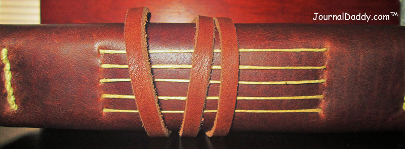 Spine of handmade leather bound book